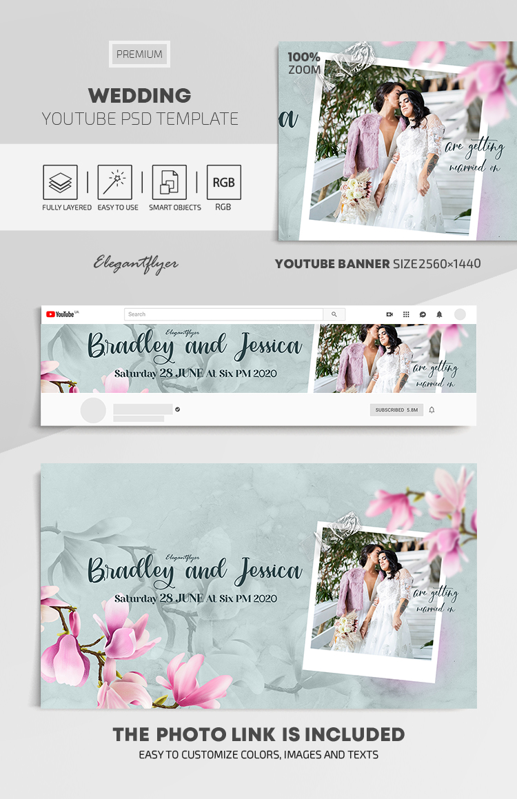 Wedding – Youtube Channel banner PSD Template