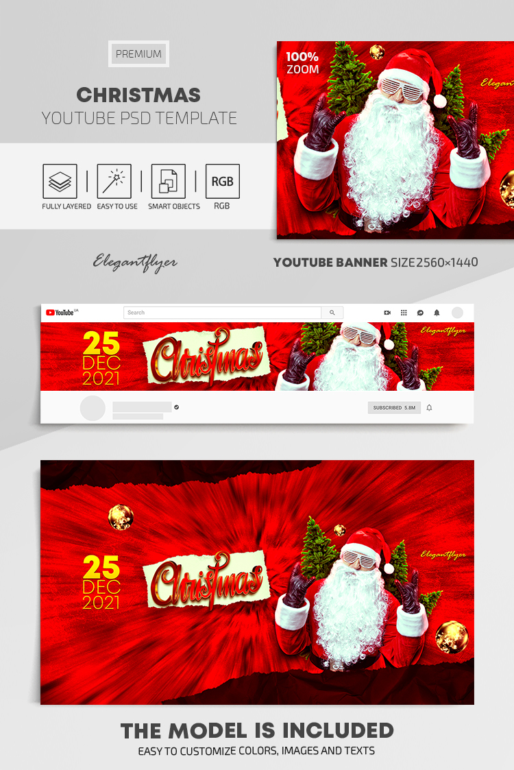 Christmas – Youtube Channel banner PSD Template