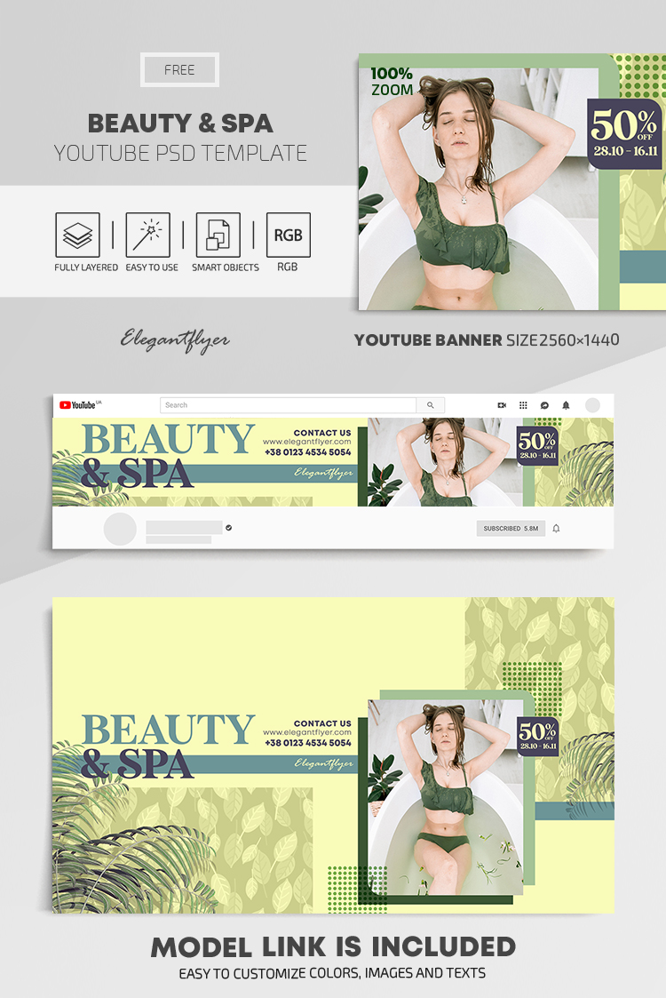Beauty & Spa – Free Youtube Channel banner PSD Template
