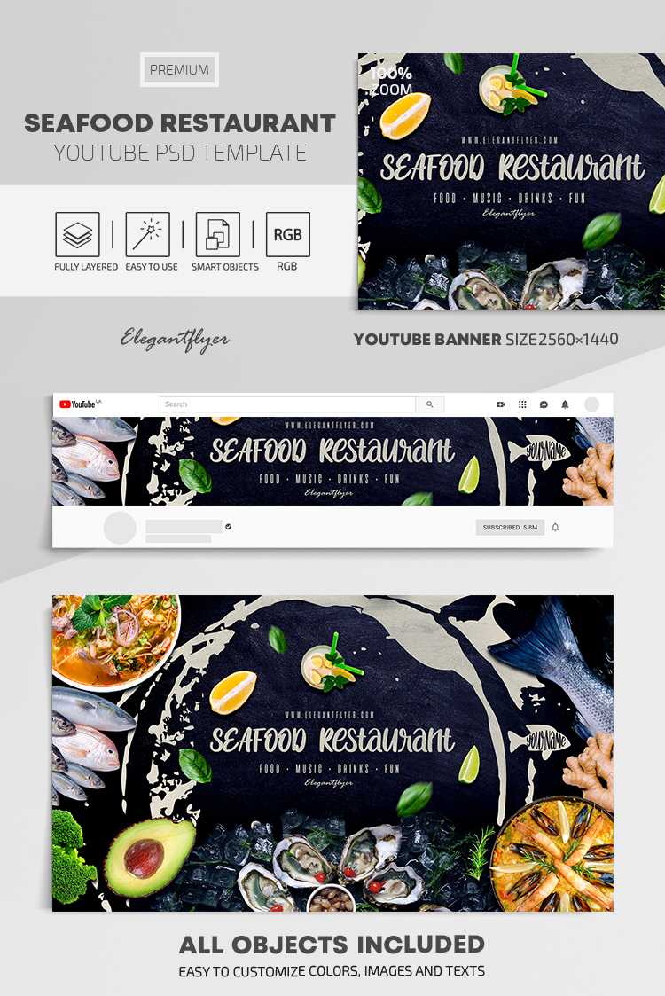 Seafood Restaurant – Youtube Channel banner PSD Template
