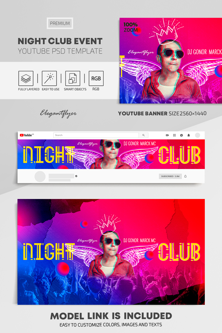 Night Club Event – Youtube Channel banner PSD Template