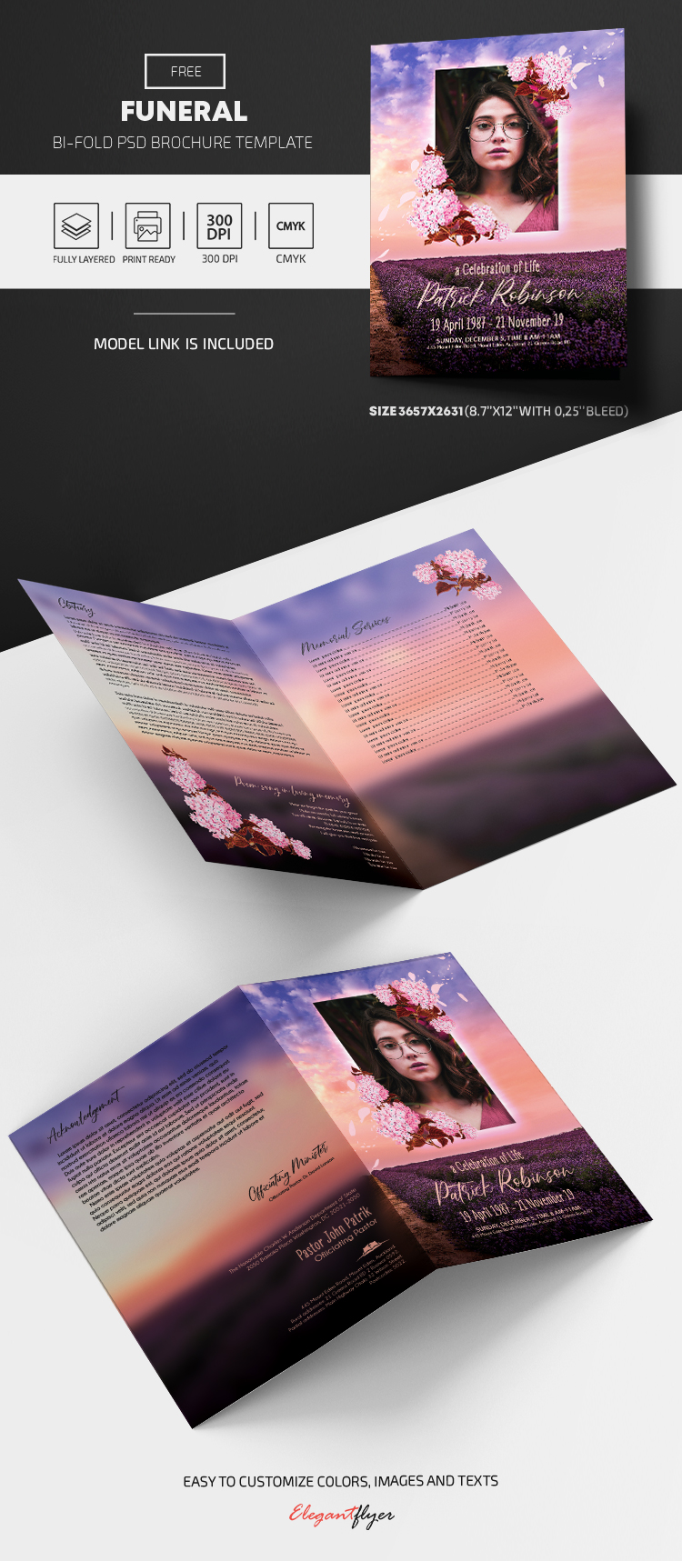 Free Funeral Program Template in PSD