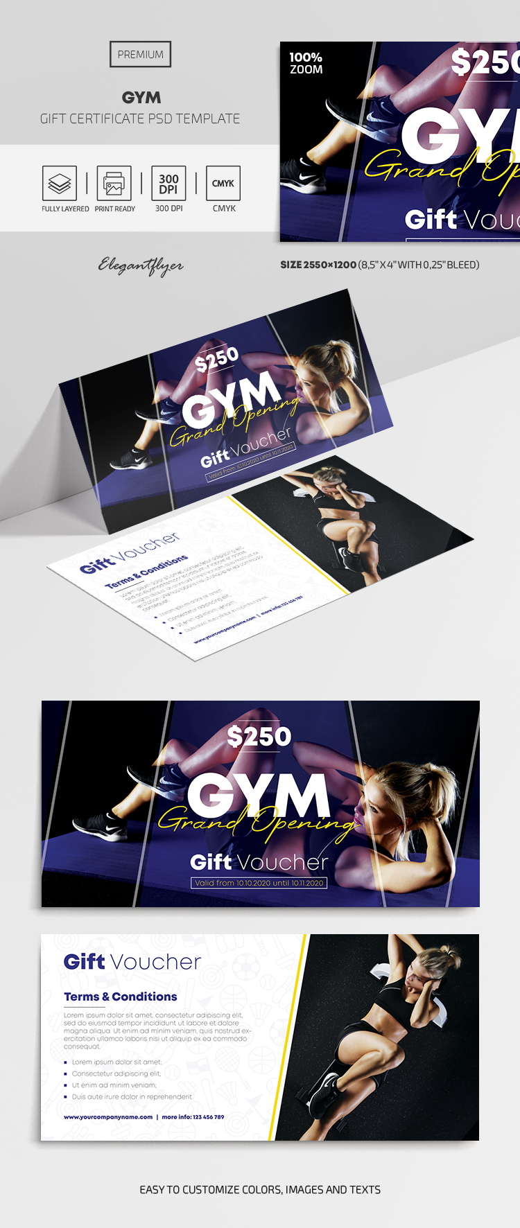 GYM – Premium Gift Certificate Template in PSD