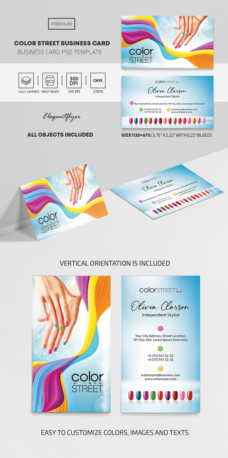 Color Street – Business Card PSD Template