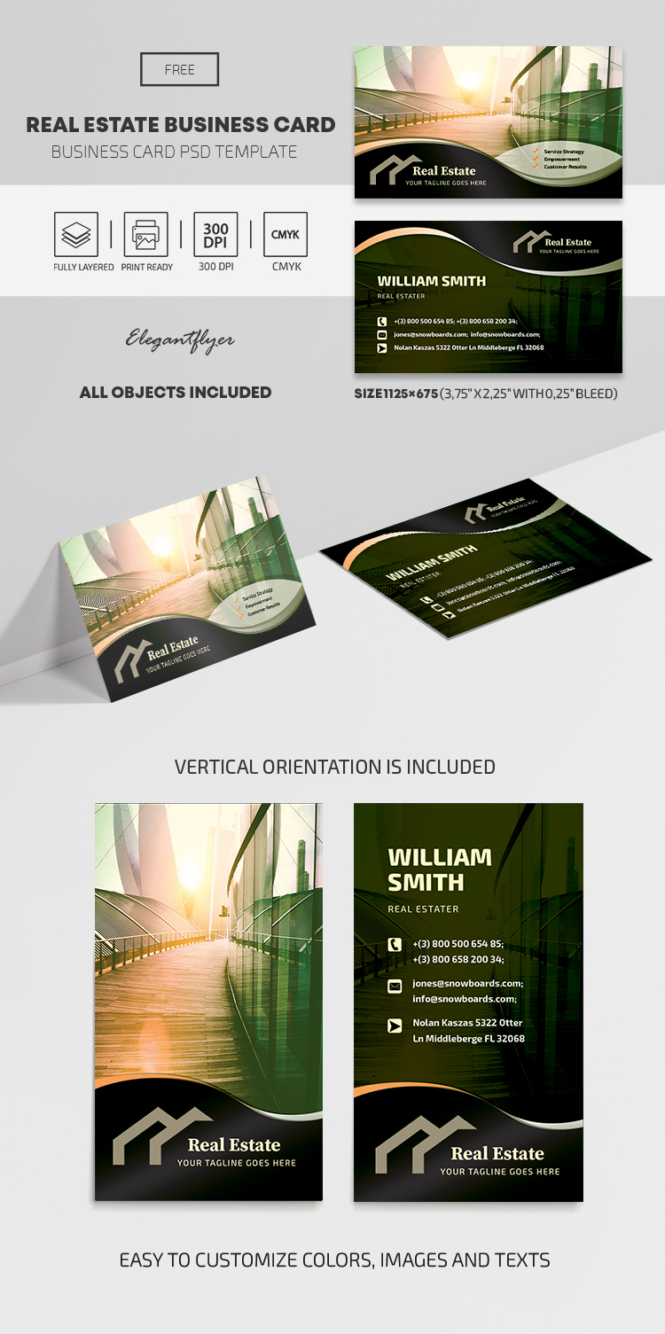 Real Estate – Free Business Card PSD Template