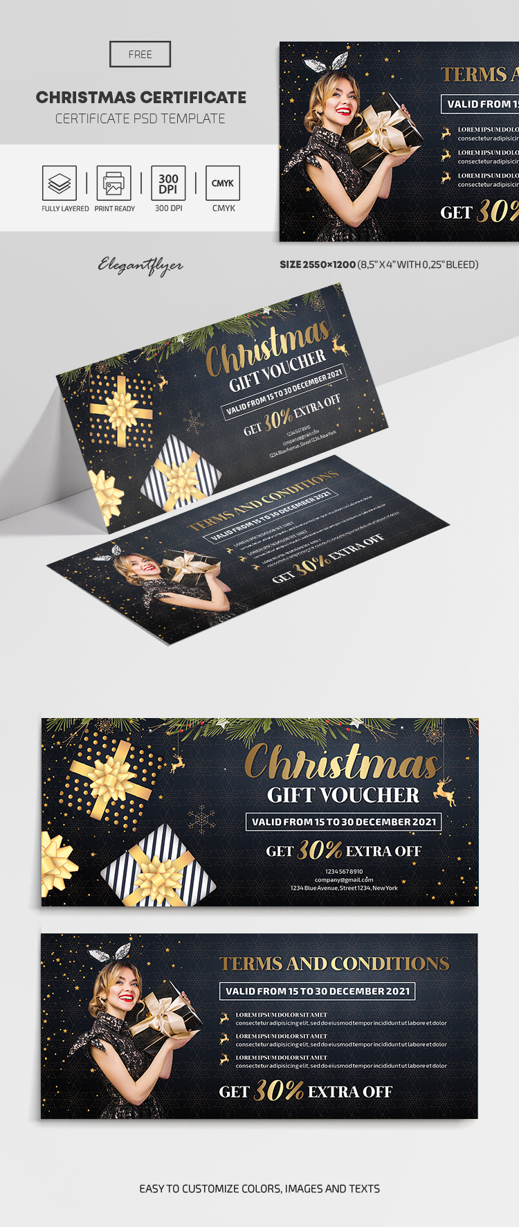 Christmas – Free Gift Certificate PSD Template