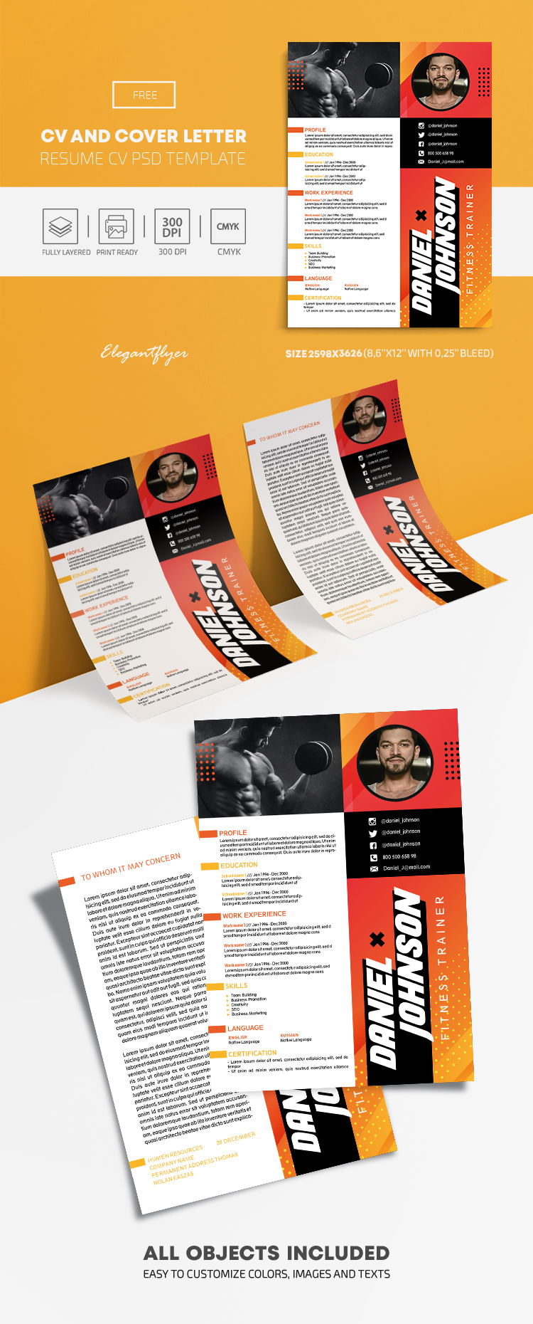 Resume – Free CV and Cover Letter PSD Template