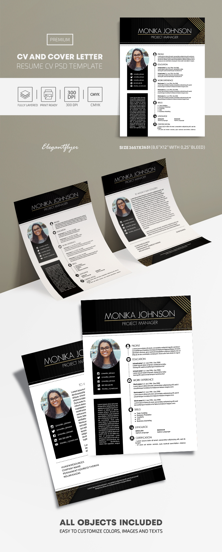 CV and Cover Letter – Premium Resume PSD Template