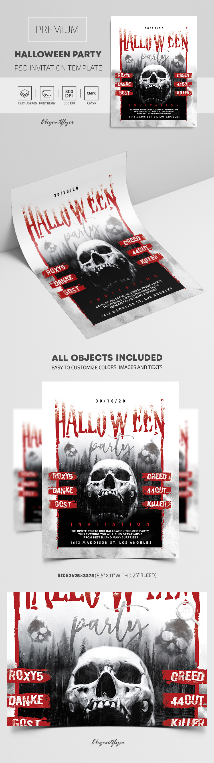 Premium Halloween Party Invitation PSD Template