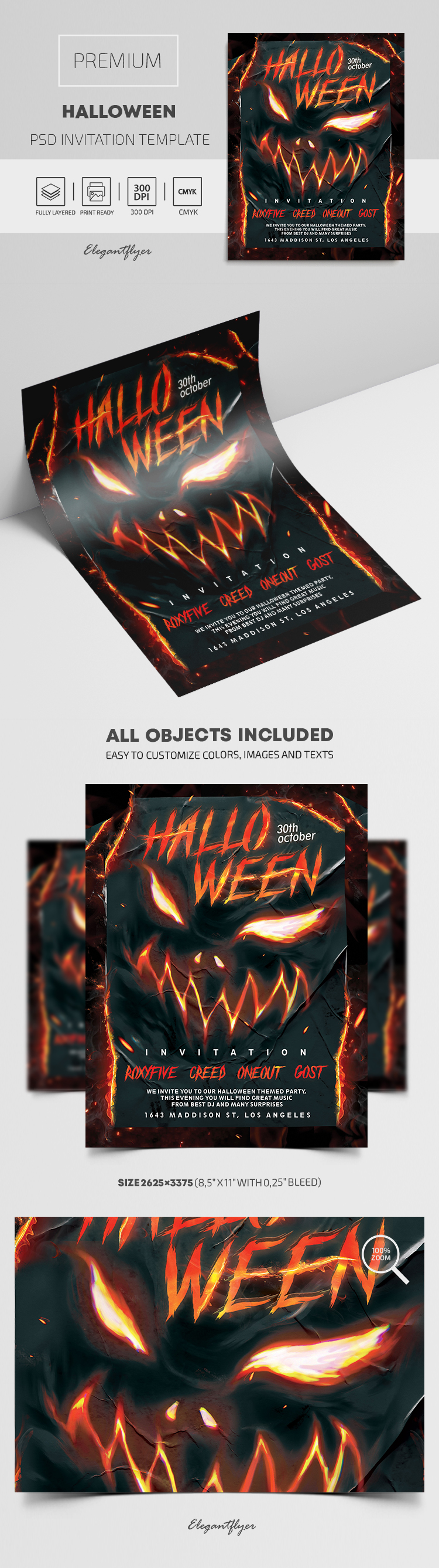 Premium Halloween Invitation PSD Template