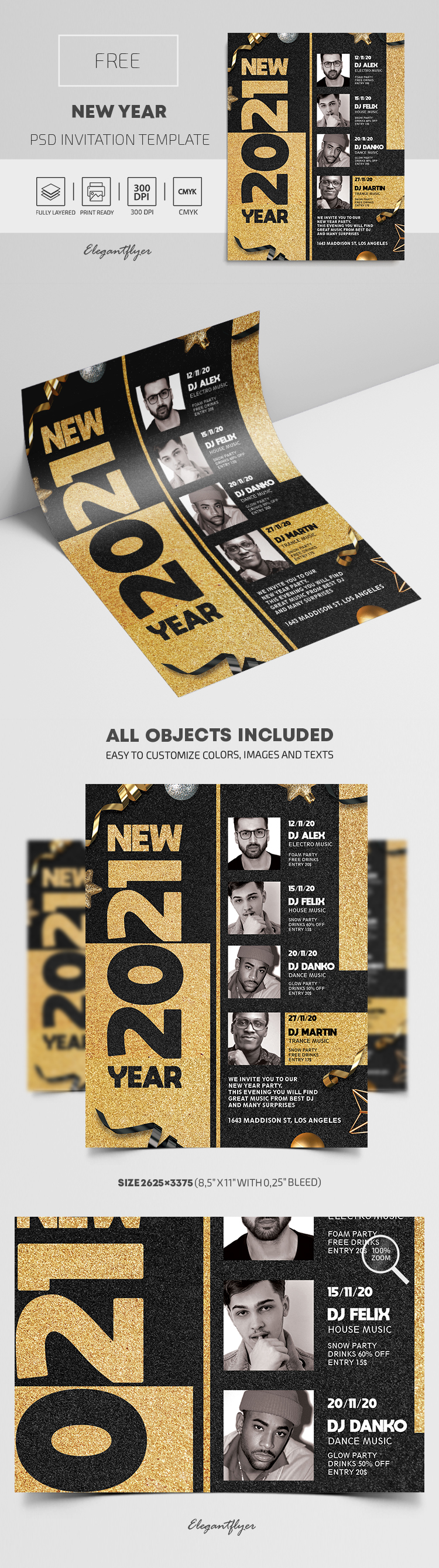 Free New Year Invitation PSD Template