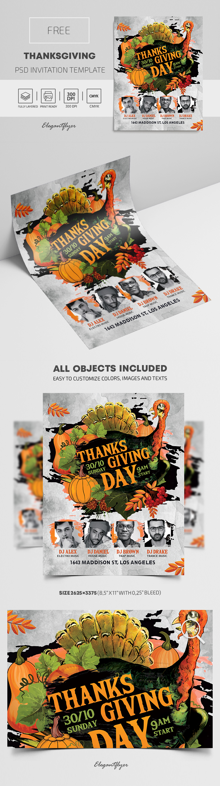 Free Thanksgiving Invitation PSD Template