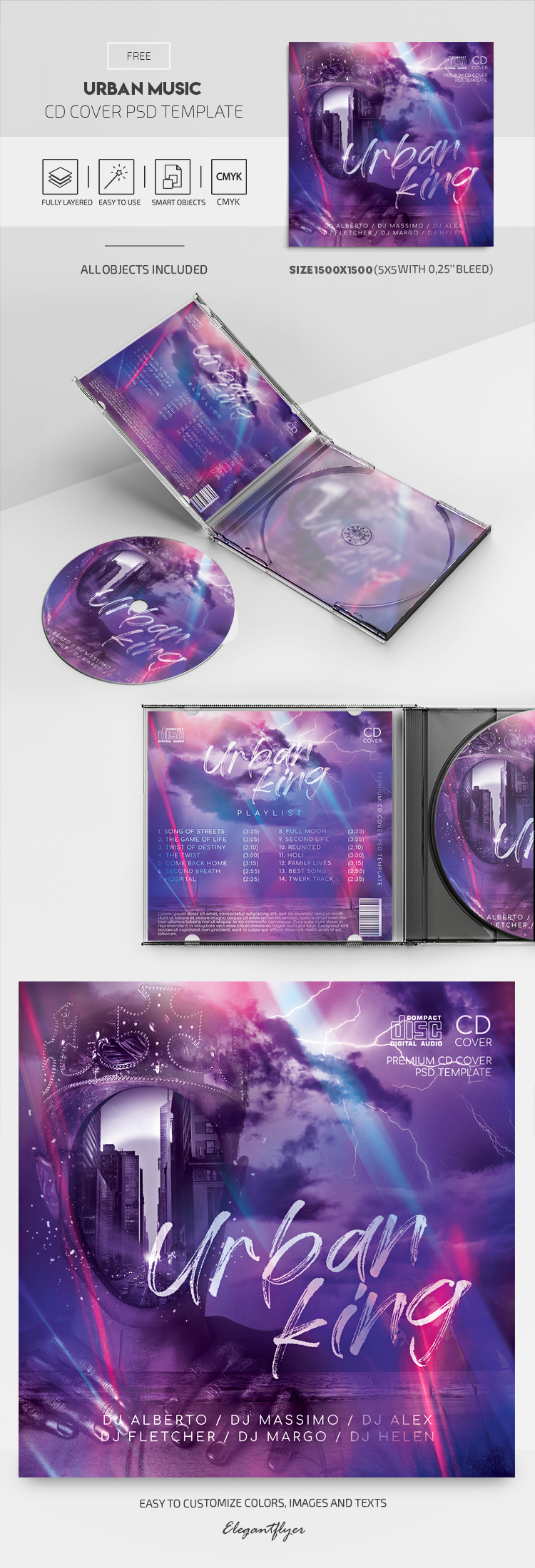 Urban Music – Free CD Cover PSD Template