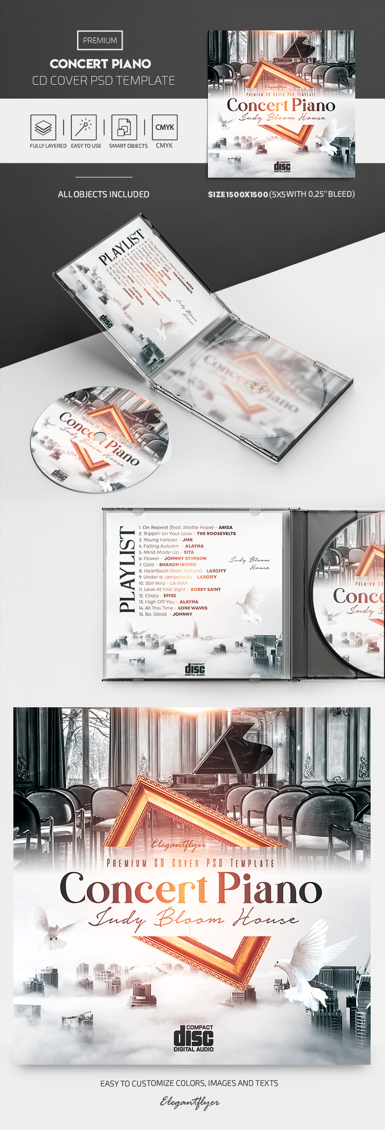 Concert Piano – Premium CD Cover PSD Template