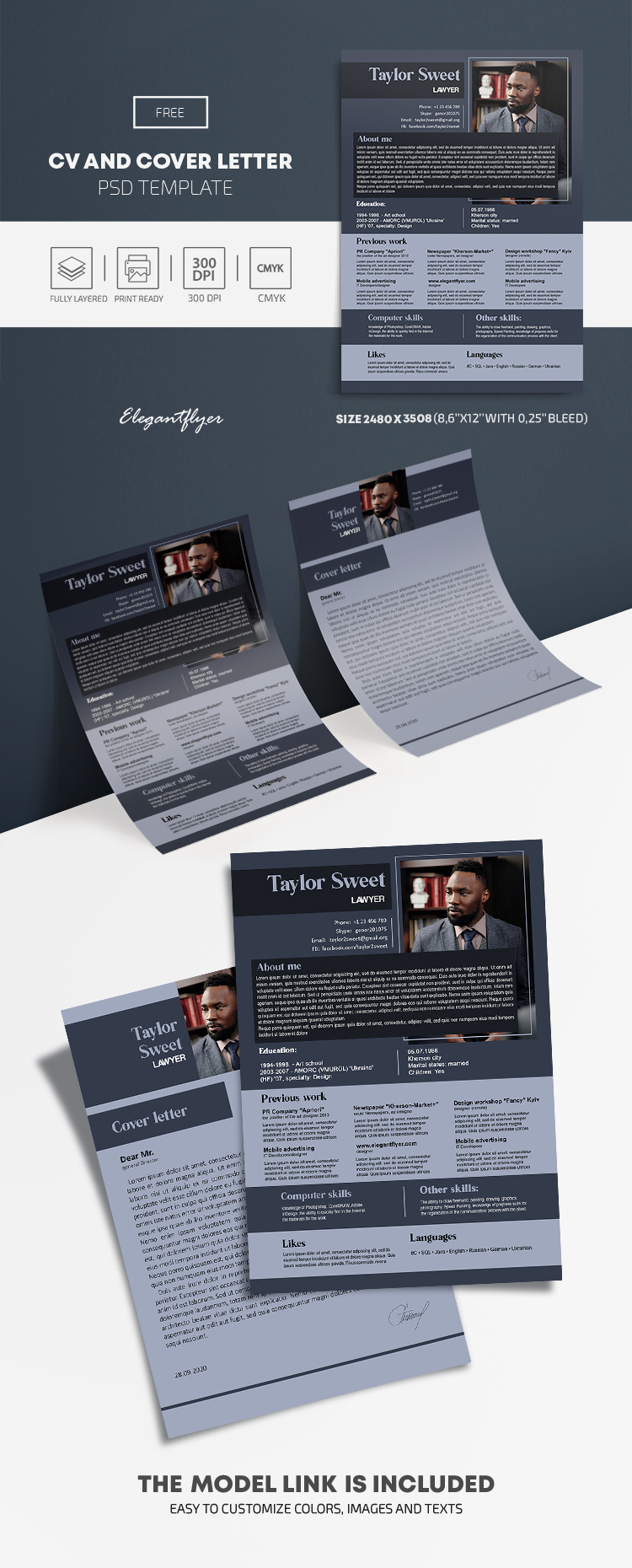 Lawyer Resume – Free CV and Cover Letter PSD Template