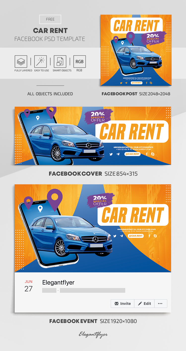Car Rent – Free Facebook Cover Template in PSD + Post + Event cover