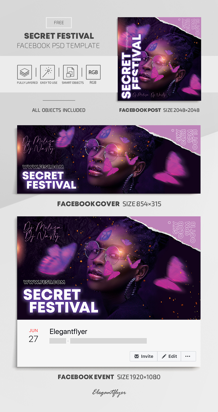 Secret Festival – Free Facebook Cover Template in PSD + Post + Event cover
