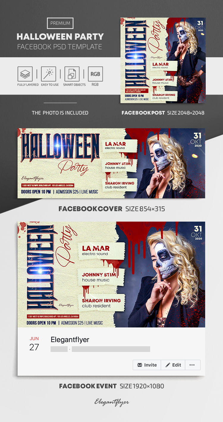 Halloween Party – Facebook Cover Template in PSD + Post + Event cover