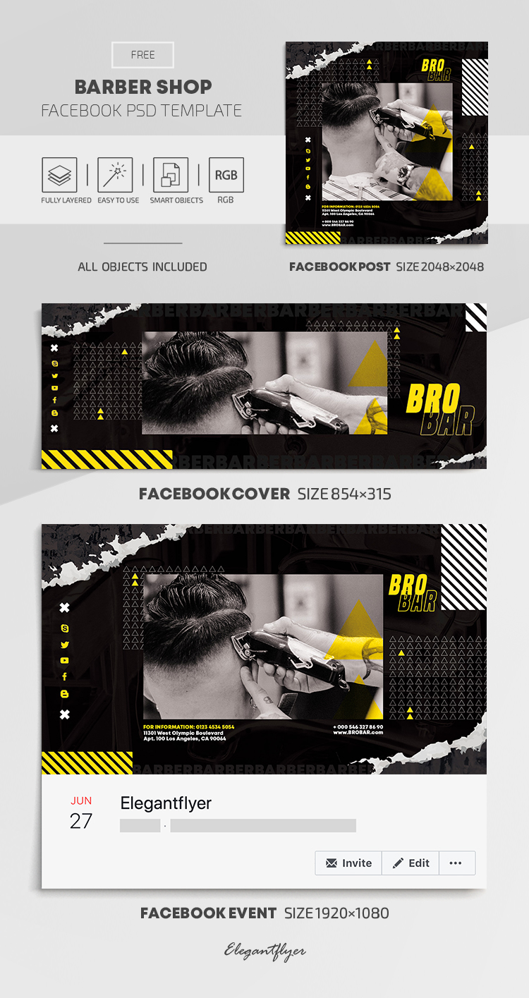Barber Shop – Free Facebook Cover Template in PSD + Post + Event cover