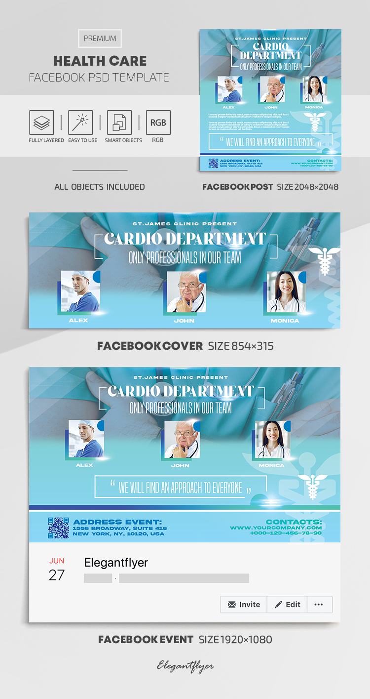 Health Care – Facebook Cover Template in PSD + Post + Event cover