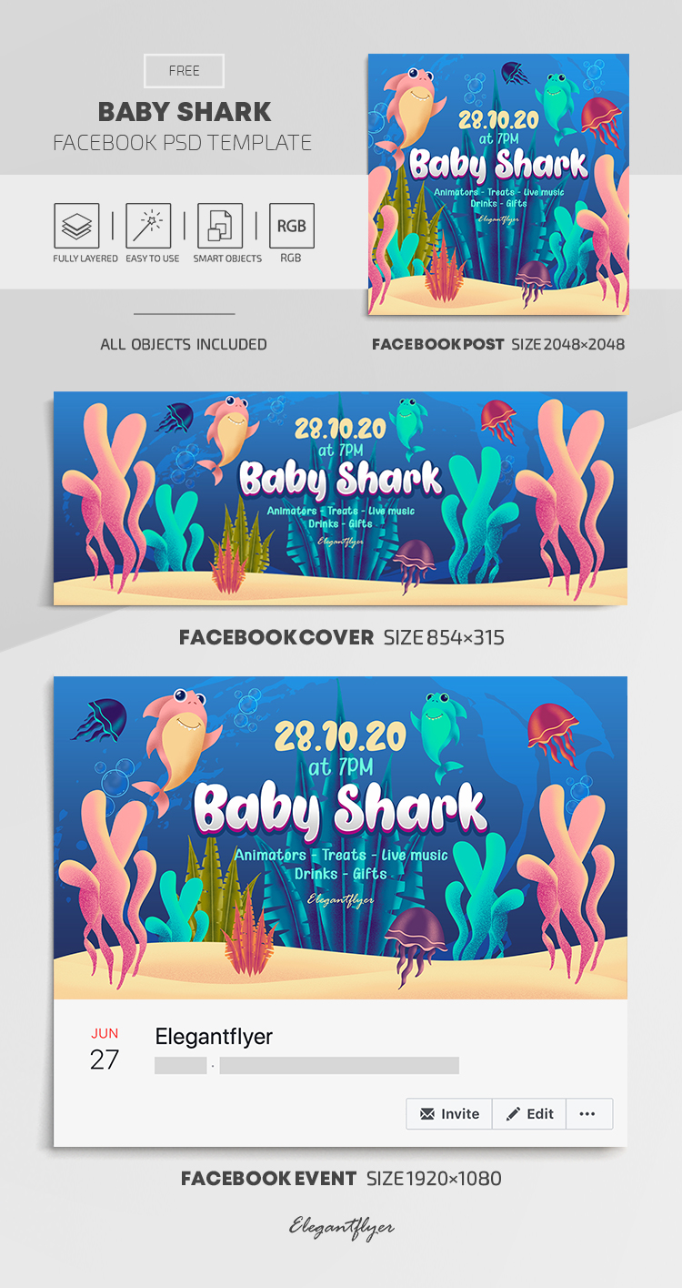 Baby Shark – Free Facebook Cover Template in PSD + Post + Event cover