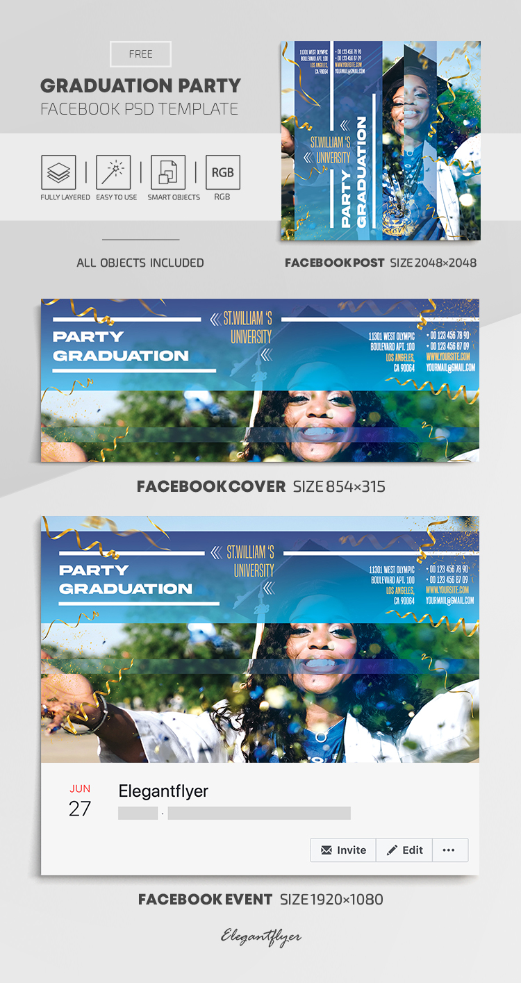 Graduation Party – Free Facebook Cover Template in PSD + Post + Event cover
