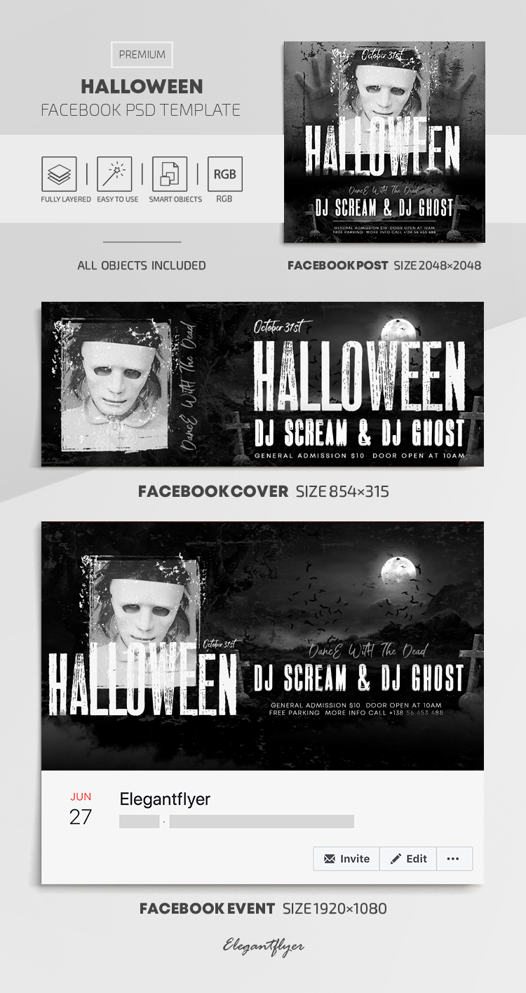 Halloween – Facebook Cover Template in PSD + Post + Event cover