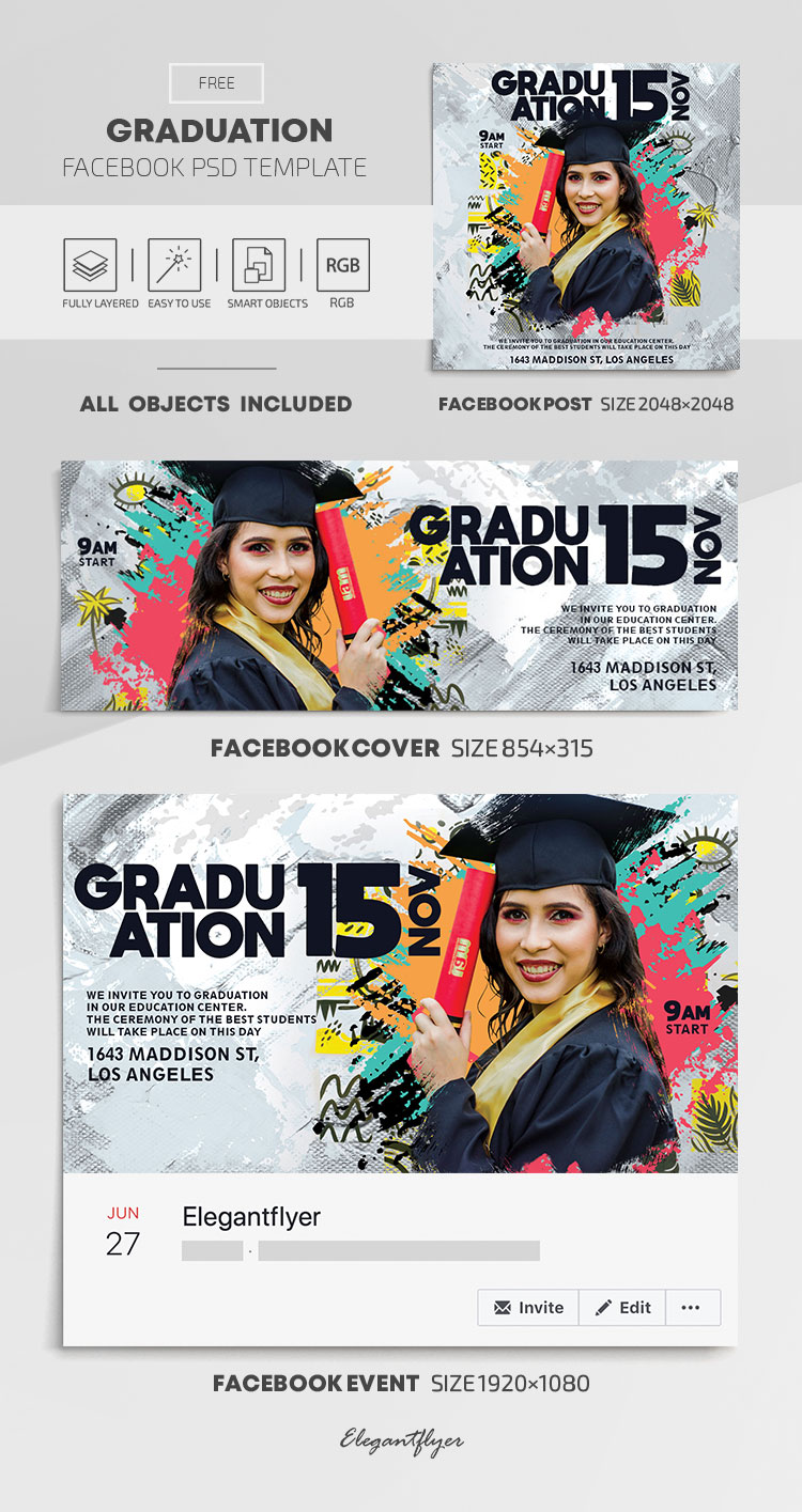 Graduation – Free Facebook Cover Template in PSD + Post + Event cover
