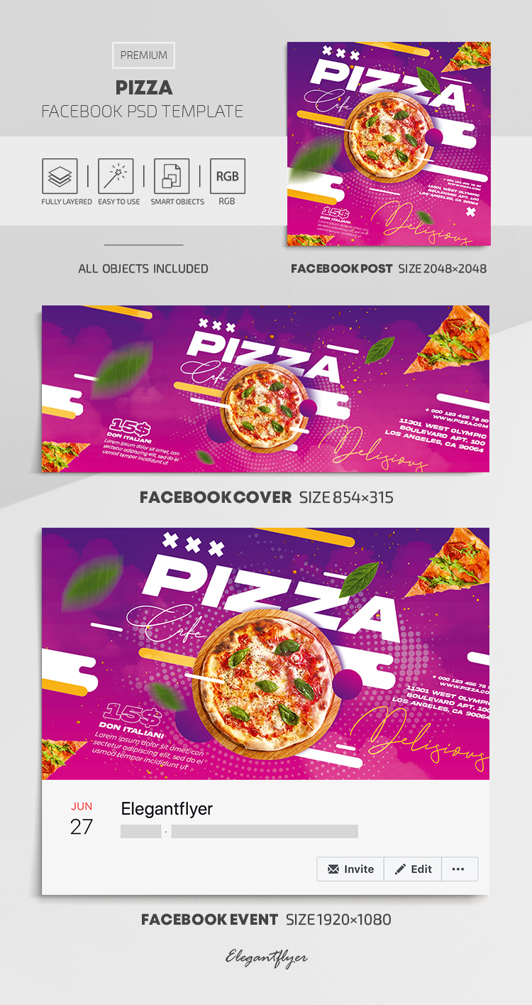 Pizza – Facebook Cover Template in PSD + Post + Event cover