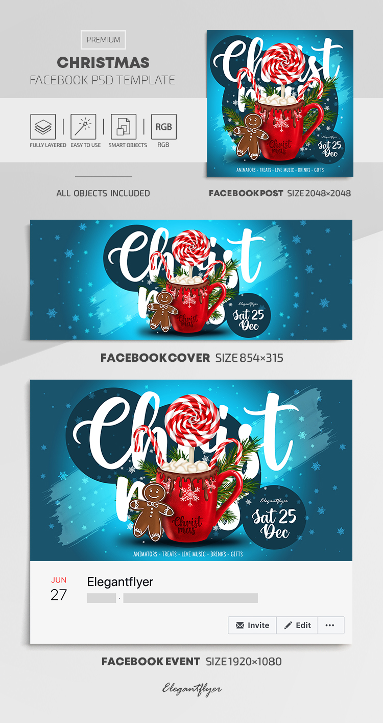 Christmas – Facebook Cover Template in PSD + Post + Event cover