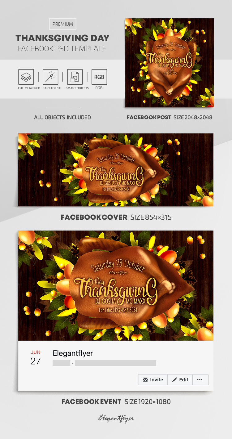 Thanksgiving – Facebook Cover Template in PSD + Post + Event cover