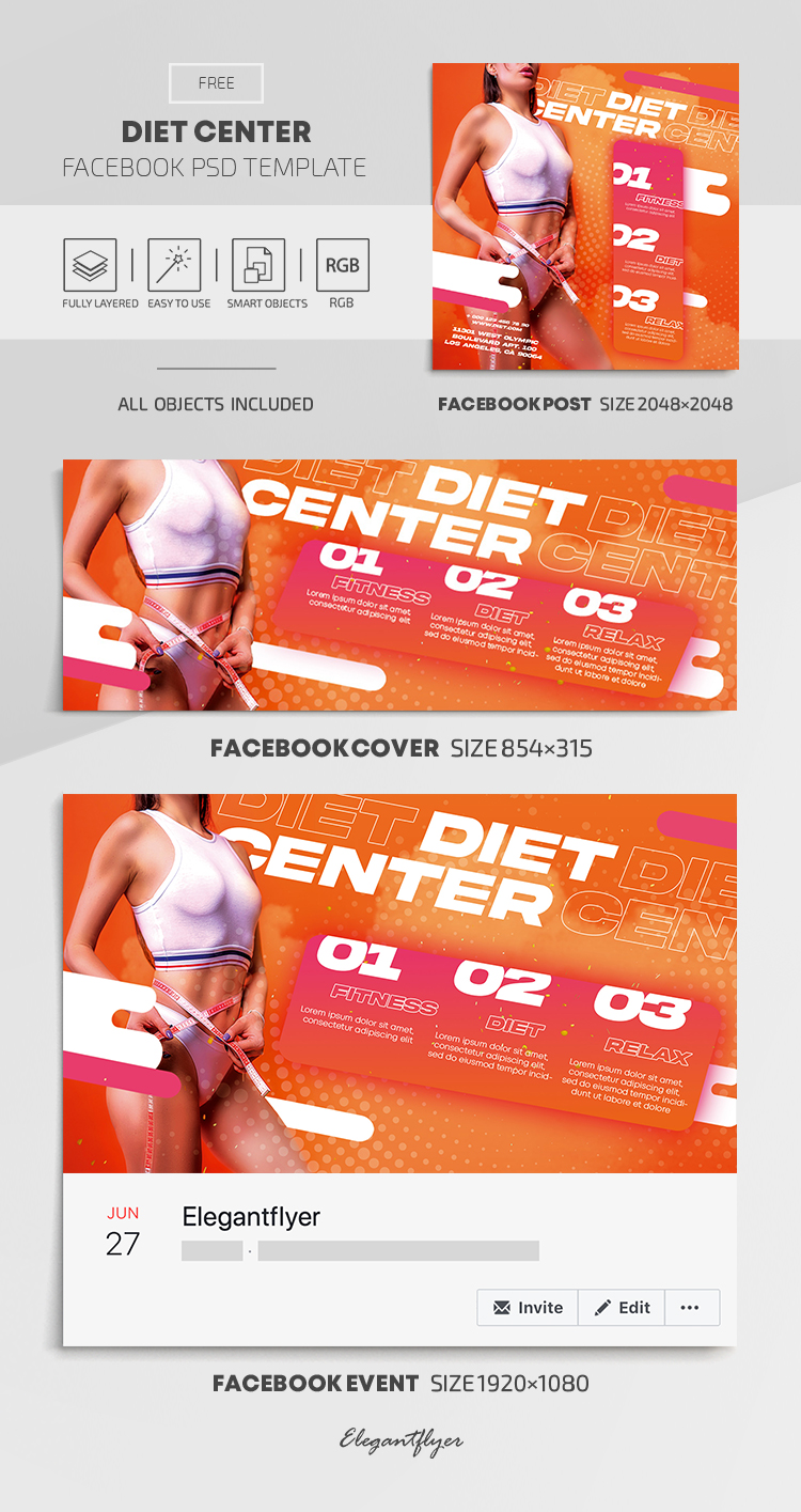 Diet Center – Free Facebook Cover Template in PSD + Post + Event cover