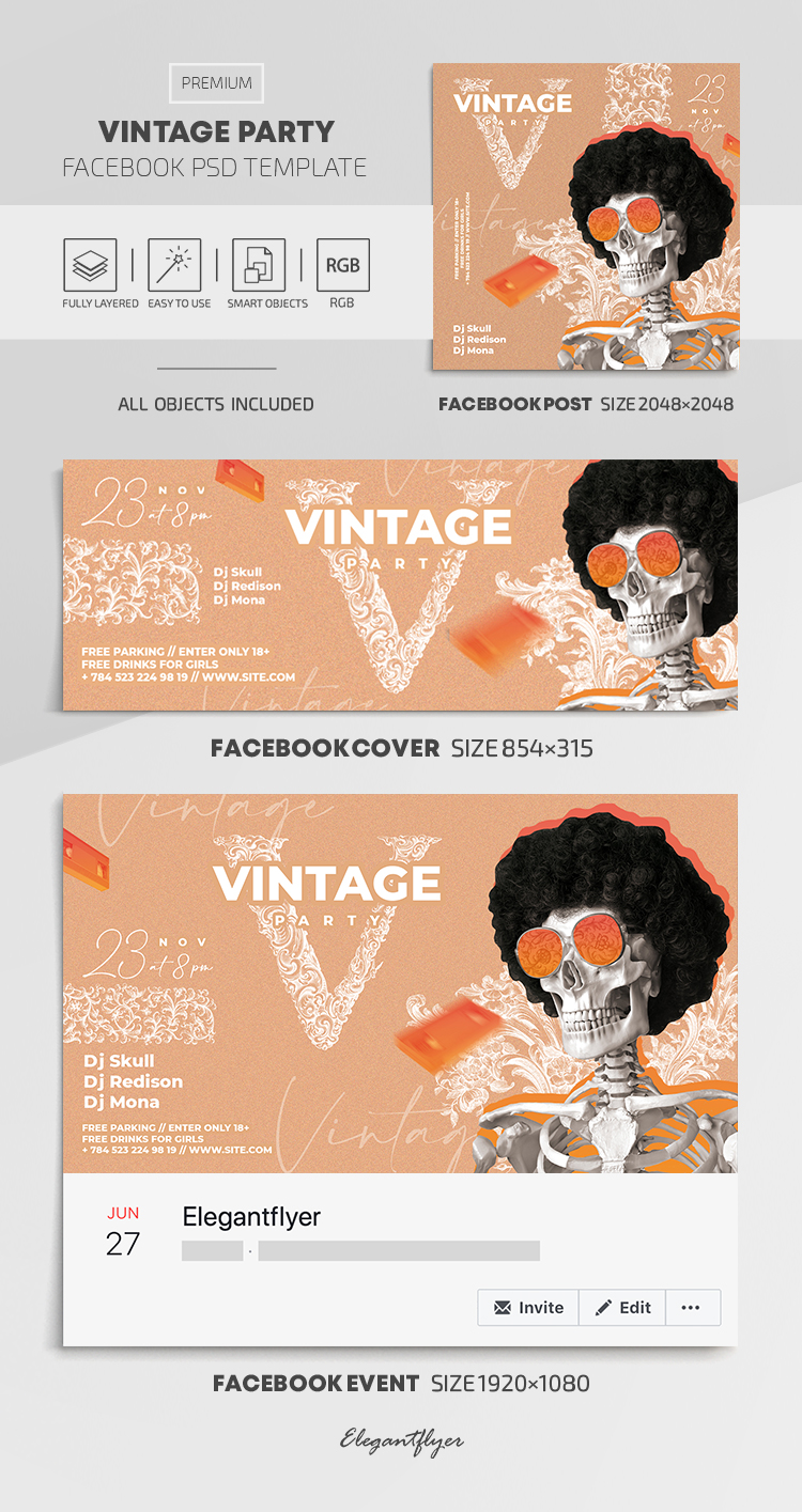 Vintage – Facebook Cover Template in PSD + Post + Event cover
