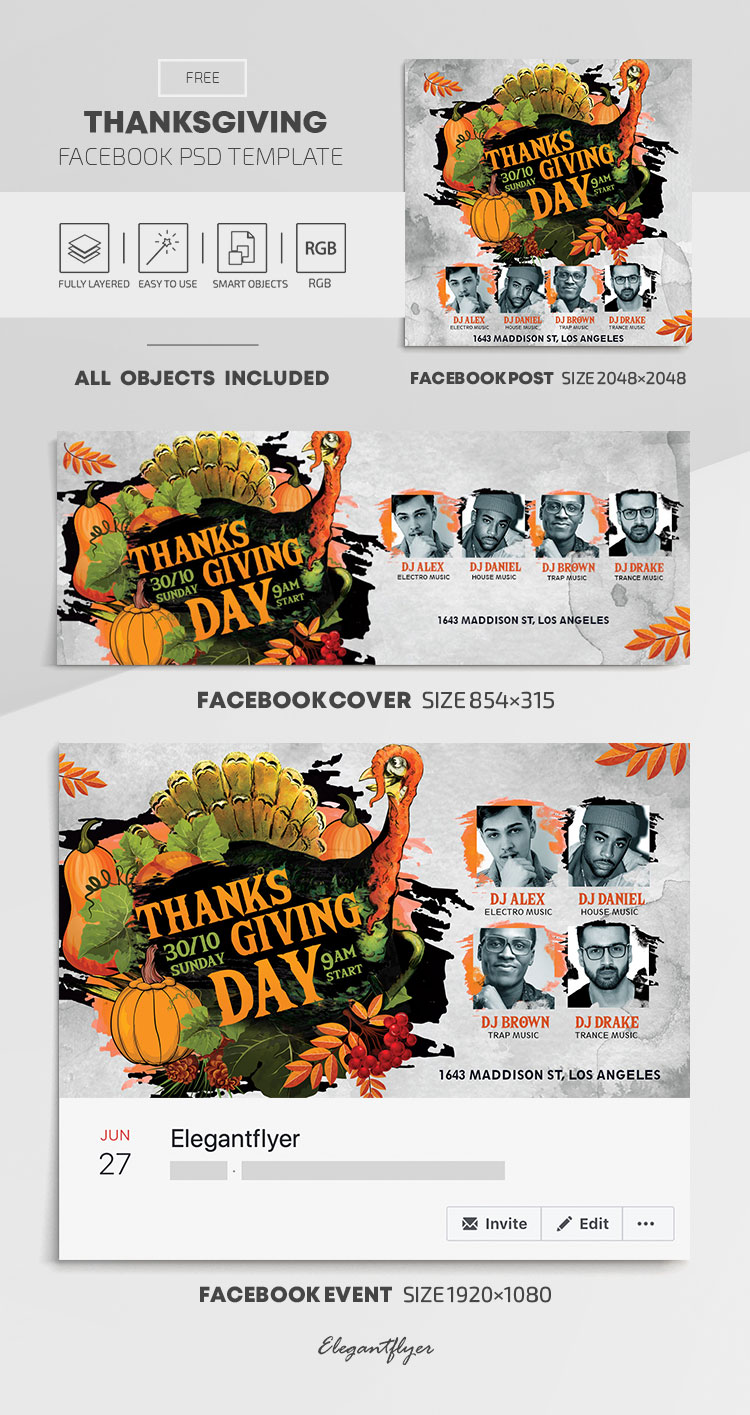 Thanksgiving – Free Facebook Cover Template in PSD + Post + Event cover
