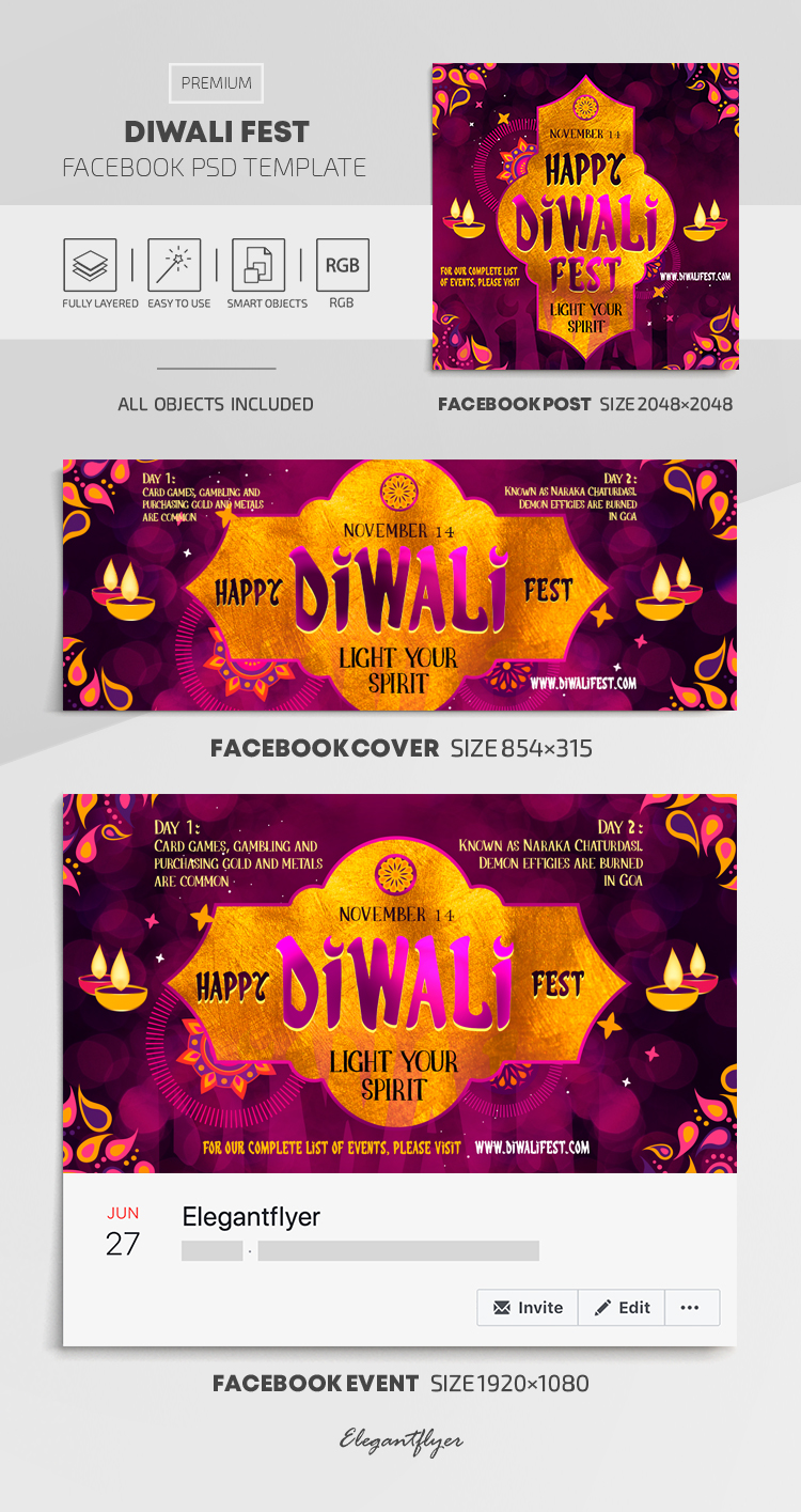 Diwali Fest  – Facebook Cover Template in PSD + Post + Event cover