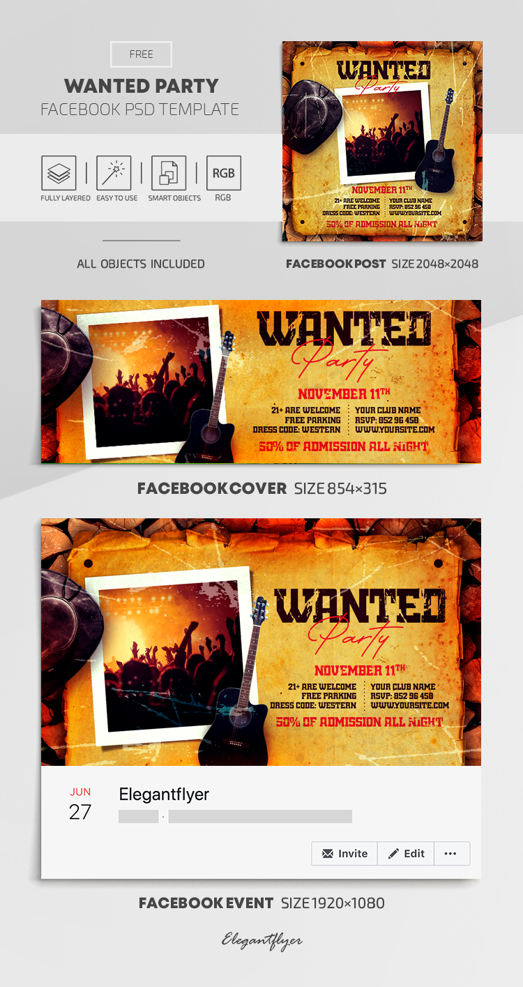 Wanted Party – Free Facebook Cover Template in PSD + Post + Event cover