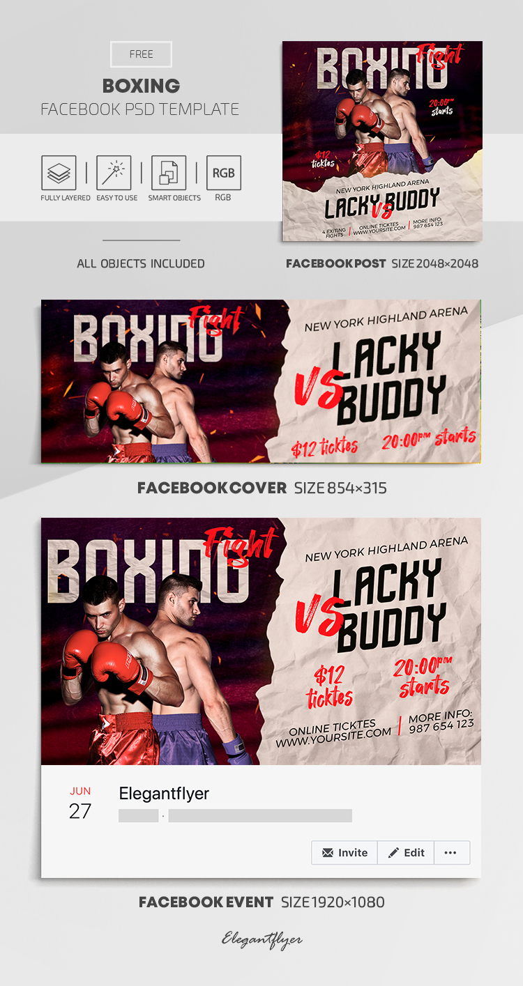 Boxing – Free Facebook Cover Template in PSD + Post + Event cover