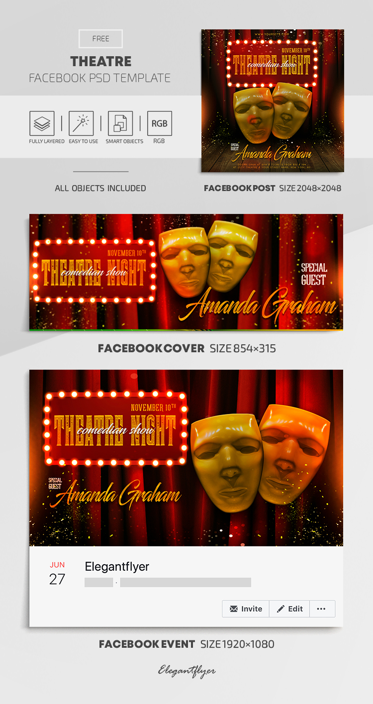 Theatre – Free Facebook Cover Template in PSD + Post + Event cover