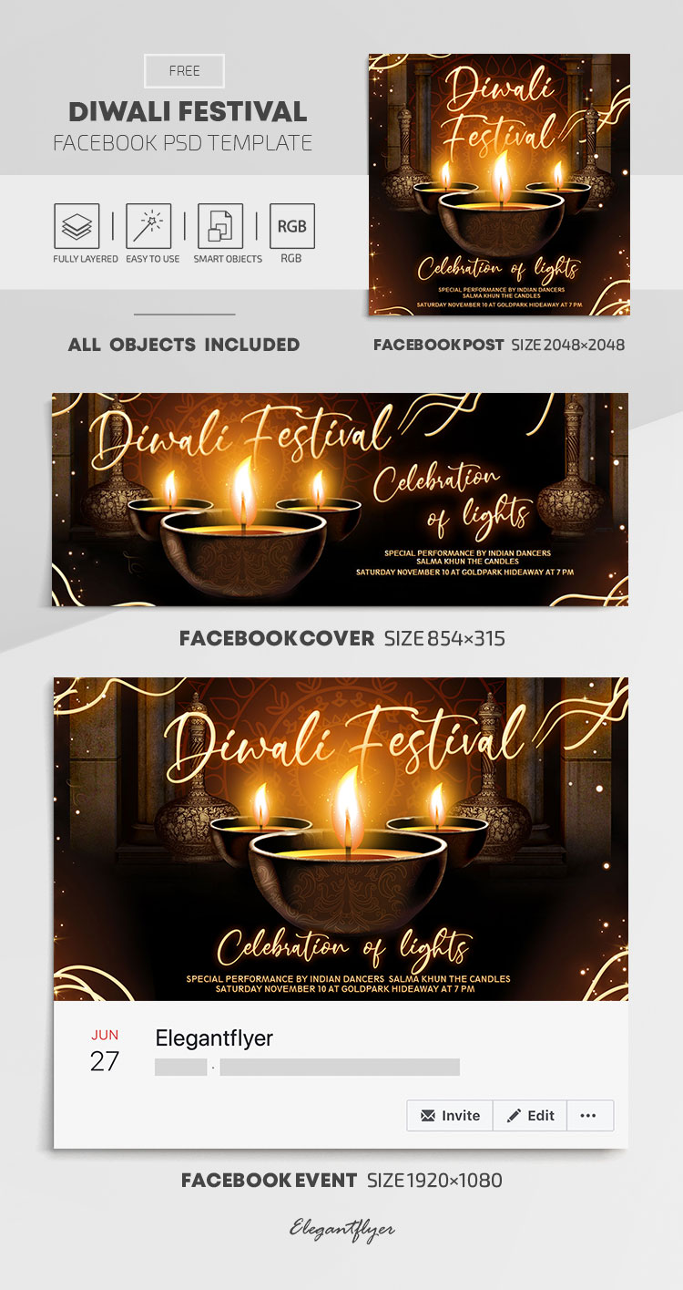 Diwali Festival – Free Facebook Cover Template in PSD + Post + Event cover