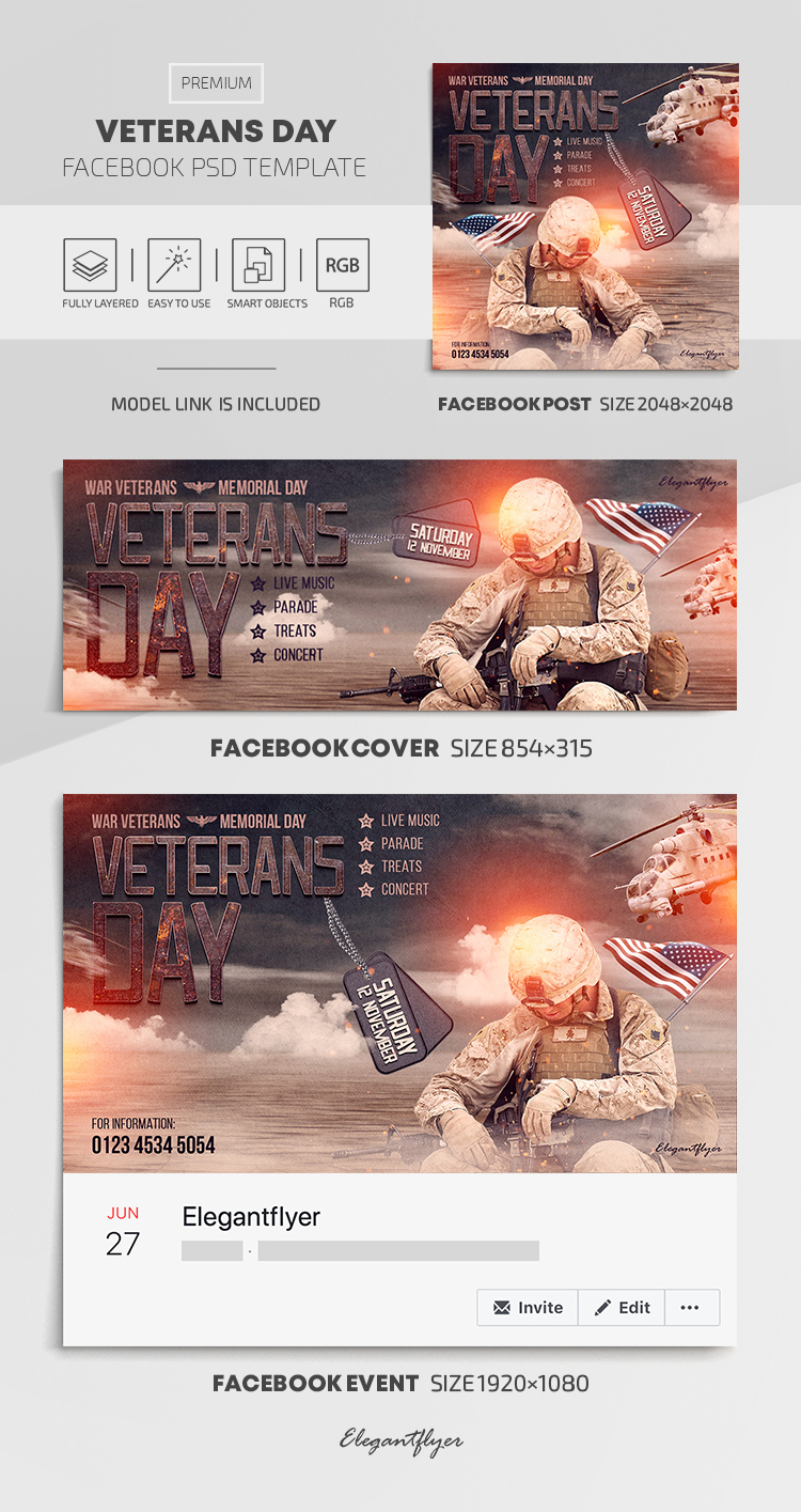 Veterans Day – Facebook Cover Template in PSD + Post + Event cover
