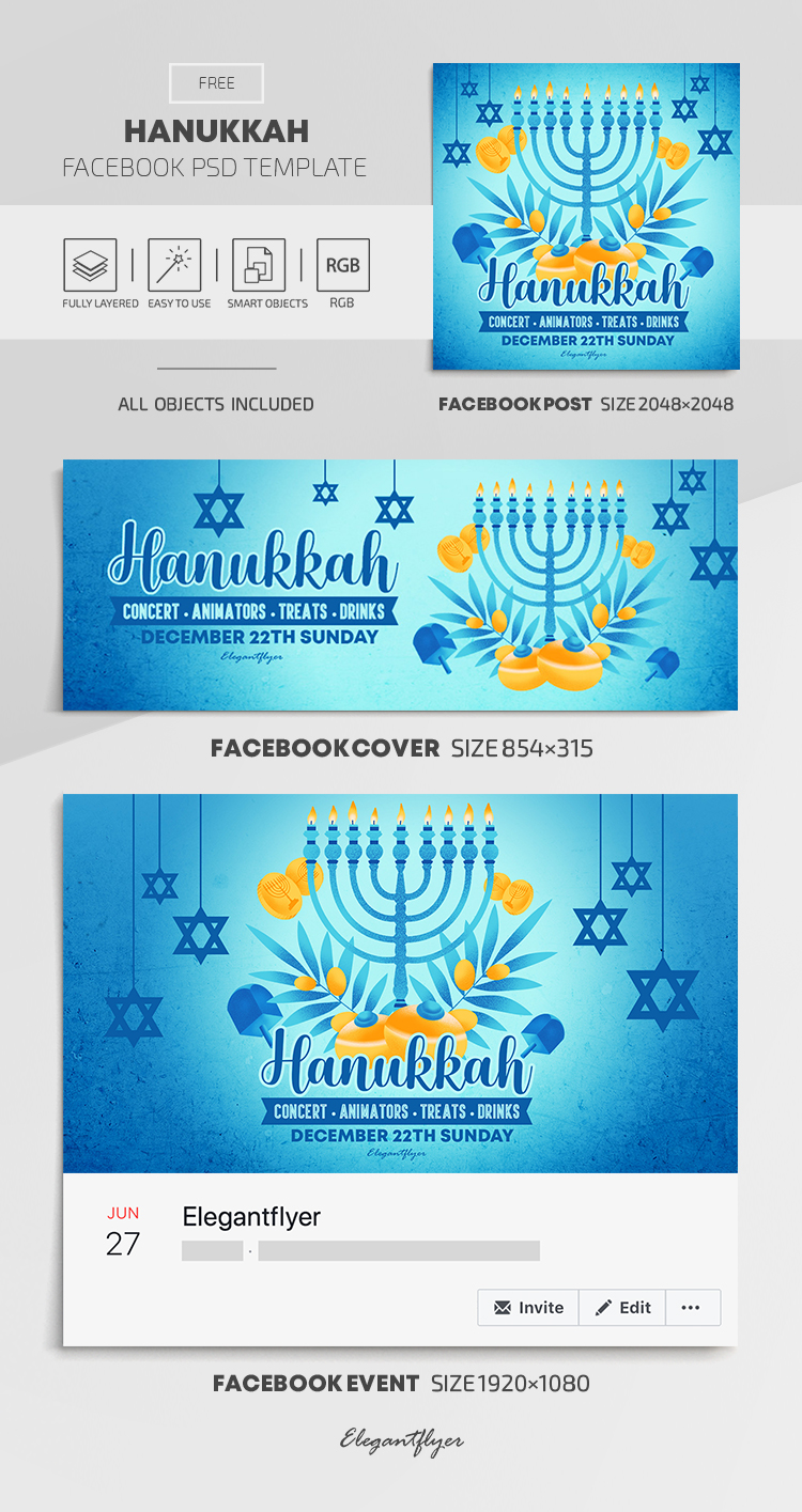 Hanukkah – Free Facebook Cover Template in PSD + Post + Event cover
