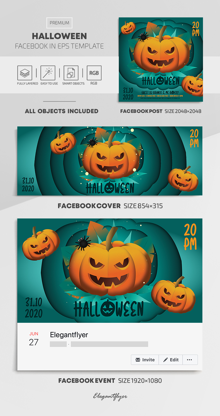 Halloween – Facebook Cover Template in EPS + Post + Event cover