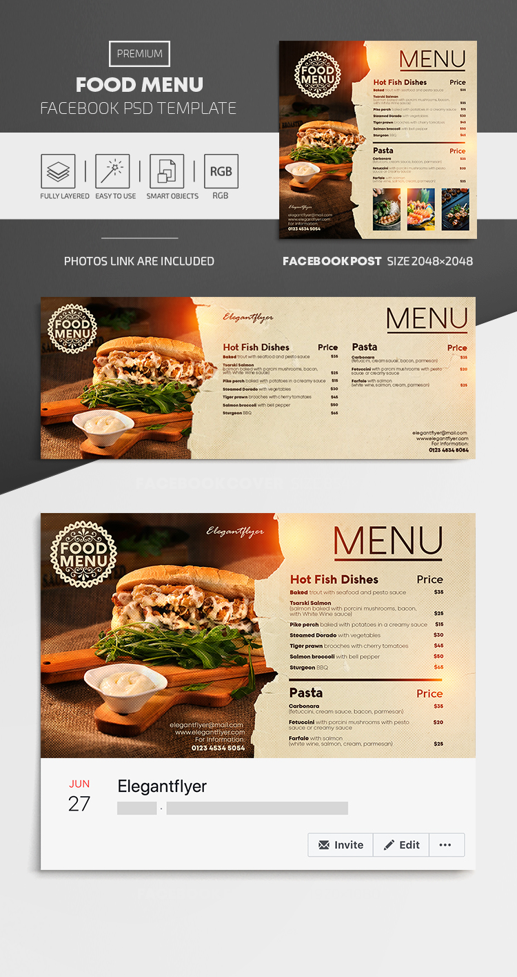Food Menu – Facebook Cover Template in PSD + Post + Event cover