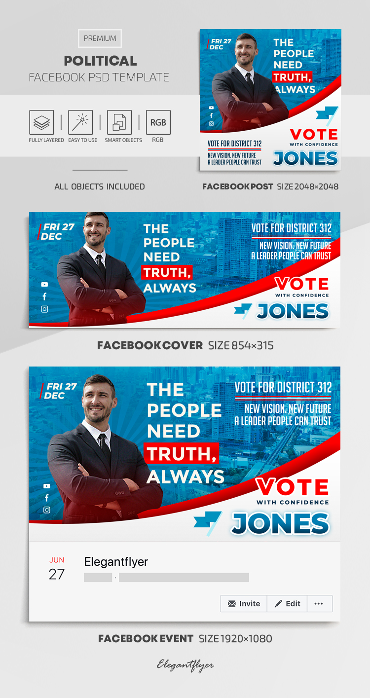 Political – Facebook Cover Template in PSD + Post + Event cover