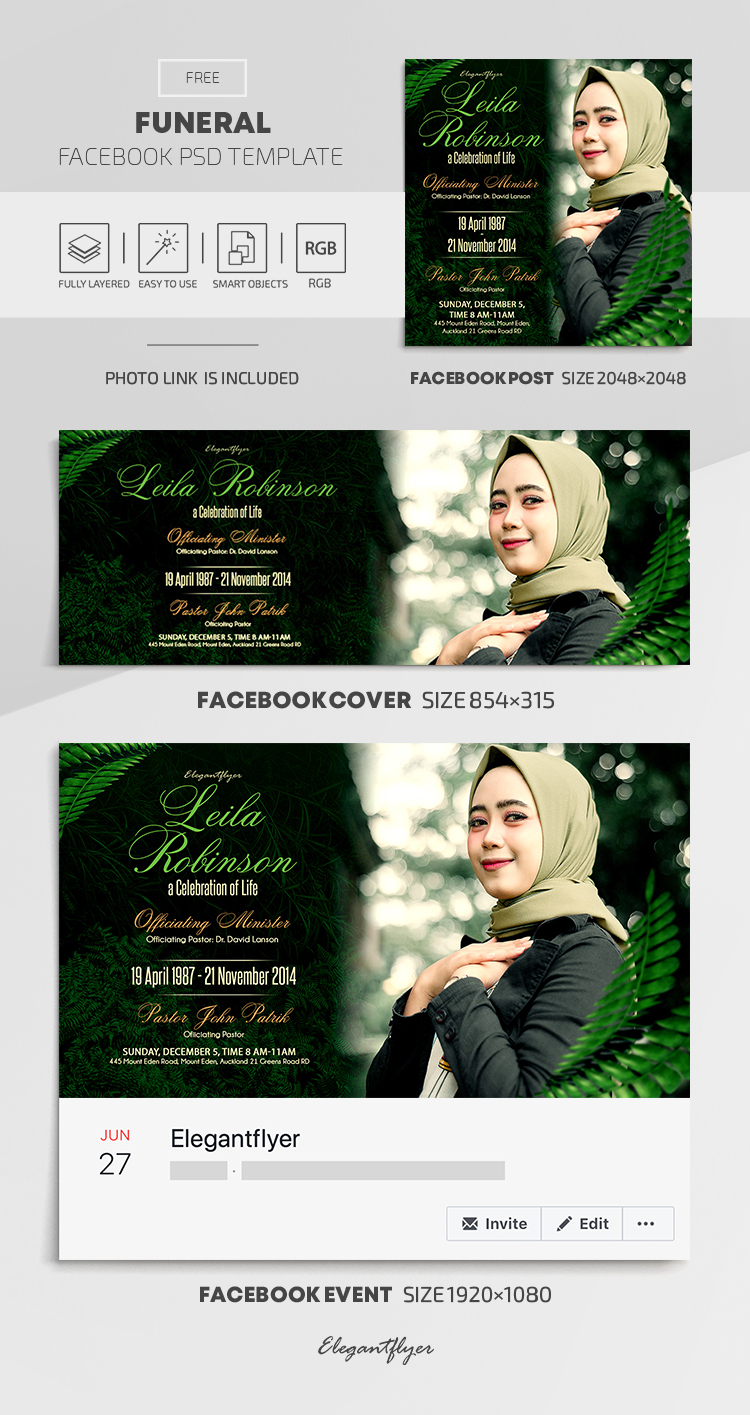 Funeral – Free Facebook Cover Template in PSD + Post + Event cover