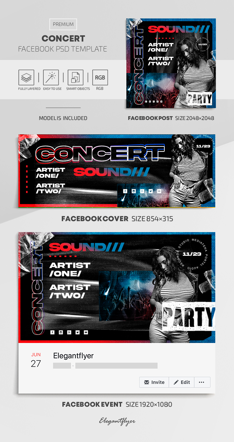 Concert – Facebook Cover Template in PSD + Post + Event cover