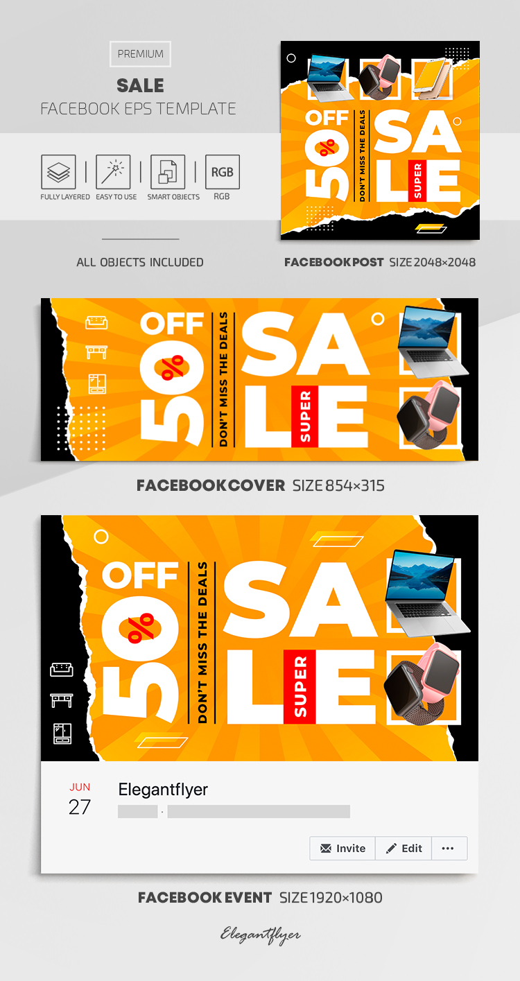 Sale – Vector Facebook Cover Template in EPS + Post + Event cover
