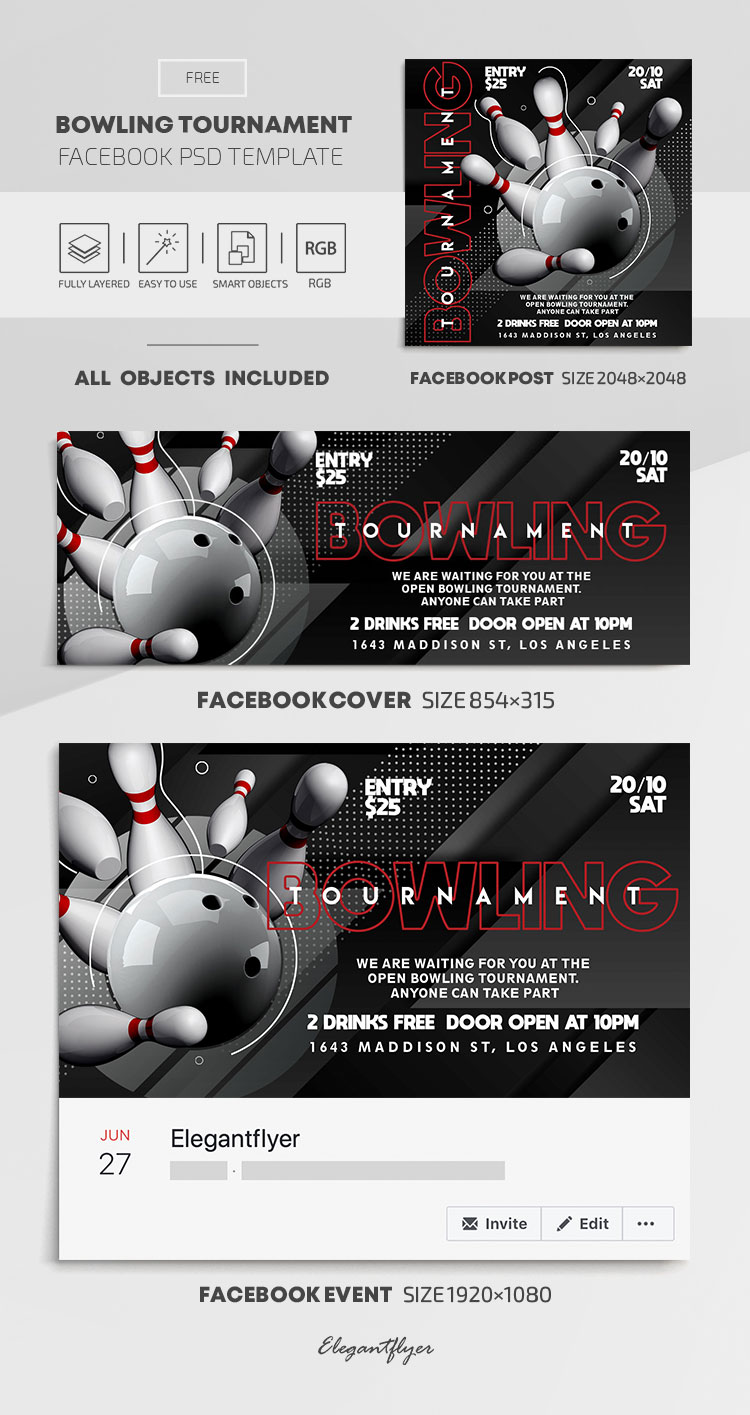 Bowling Tournament – Free Facebook Cover Template in PSD + Post + Event cover
