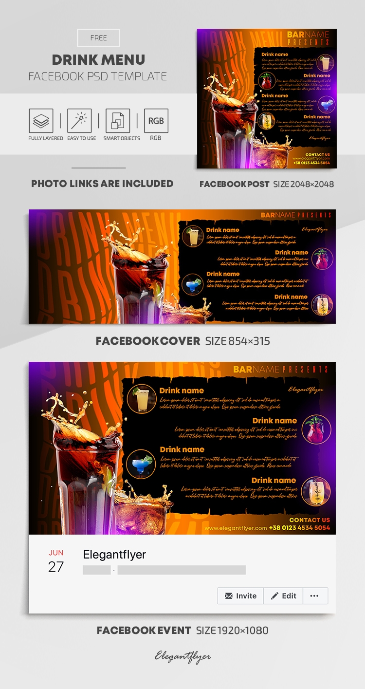 Drink Menu – Free Facebook Cover Template in PSD + Post + Event cover