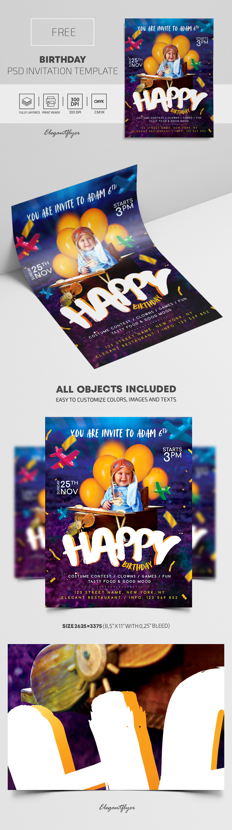 Free Birthday Invitation PSD Template